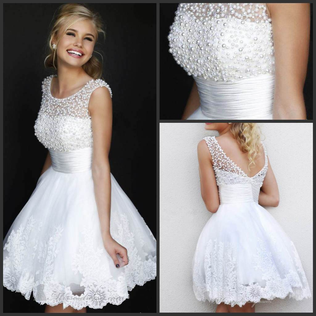 China beach bridal wedding dresses lace short party prom for Bridal wedding reception dresses