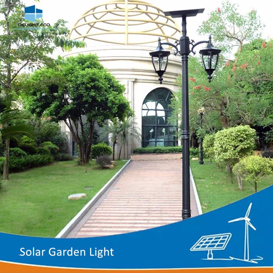 Delight Double Arm Outdoor Park Decorative Pole Solar Garden Light