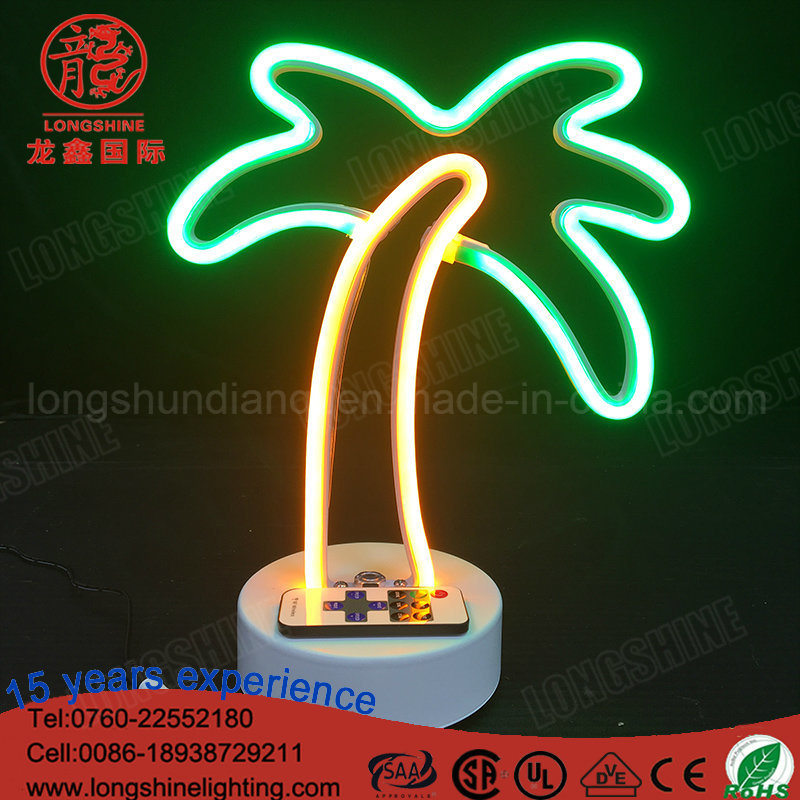 Custom Sign LED Flamingo Coconut Tree Cloud Cactus Neon Table Light for Desk