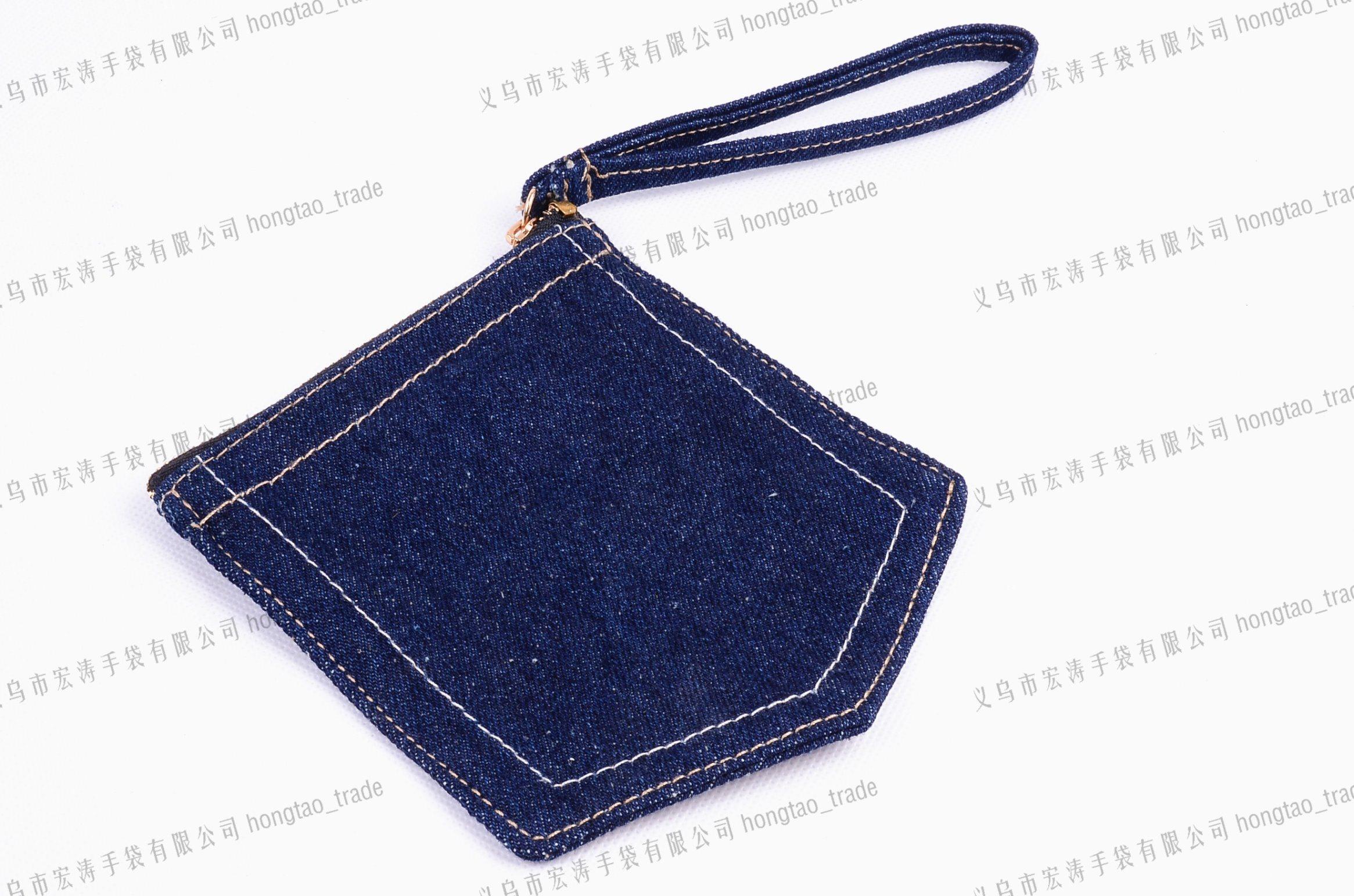 Denim Handbag with Handle Stamp Logo on PU Gift Promo Bag14oz Jean Pocket