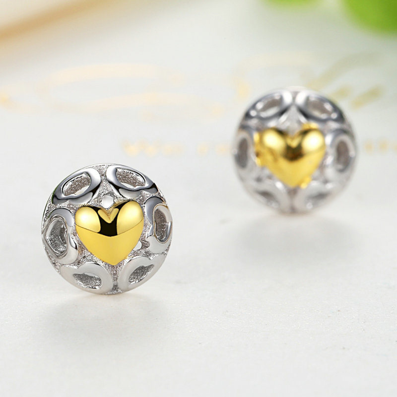 Women Heart Silver Stud Earrings Fine Jewelry