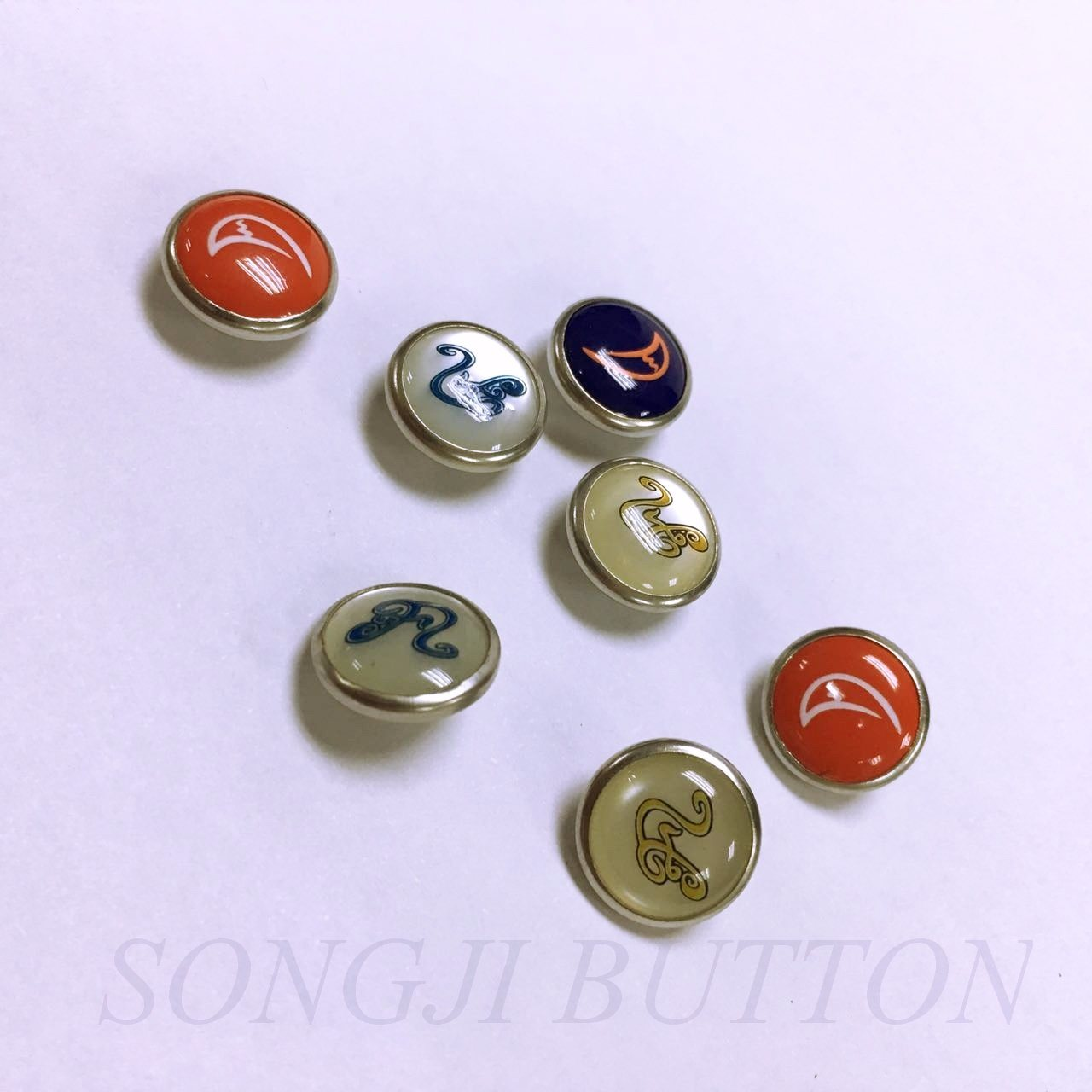 New Design Printed Pearl Cap Au Shank Button