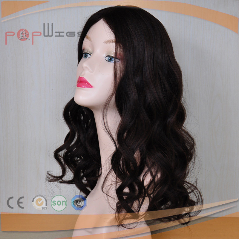 Best Selling off Black Remy Vigin Human Hair Wavy Double Knots Skin Top Wig