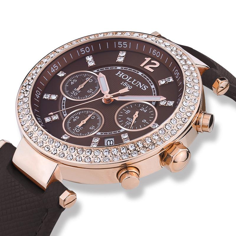 Big Dial Quartz-Watch Ladies Watches, Waterproof Shock Resistant Ceramic Black White Women Watches