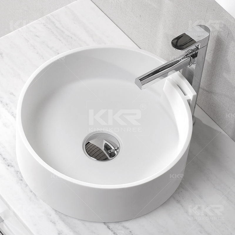 Modern Small Art Resin Stone Solid Surface Bathroom Basin (B1706131)