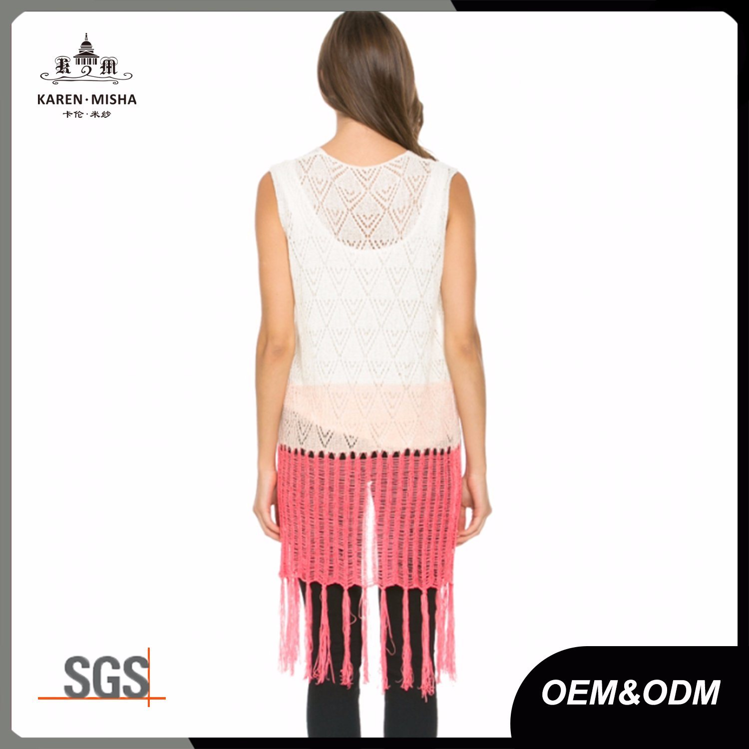 Fringed Women Knit Long Cardigan Vest