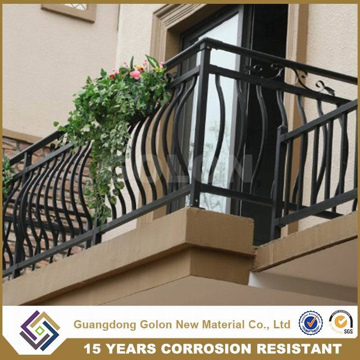 Aluminum Steel Metal Wought Iron Residential House Curve Balcony Railing