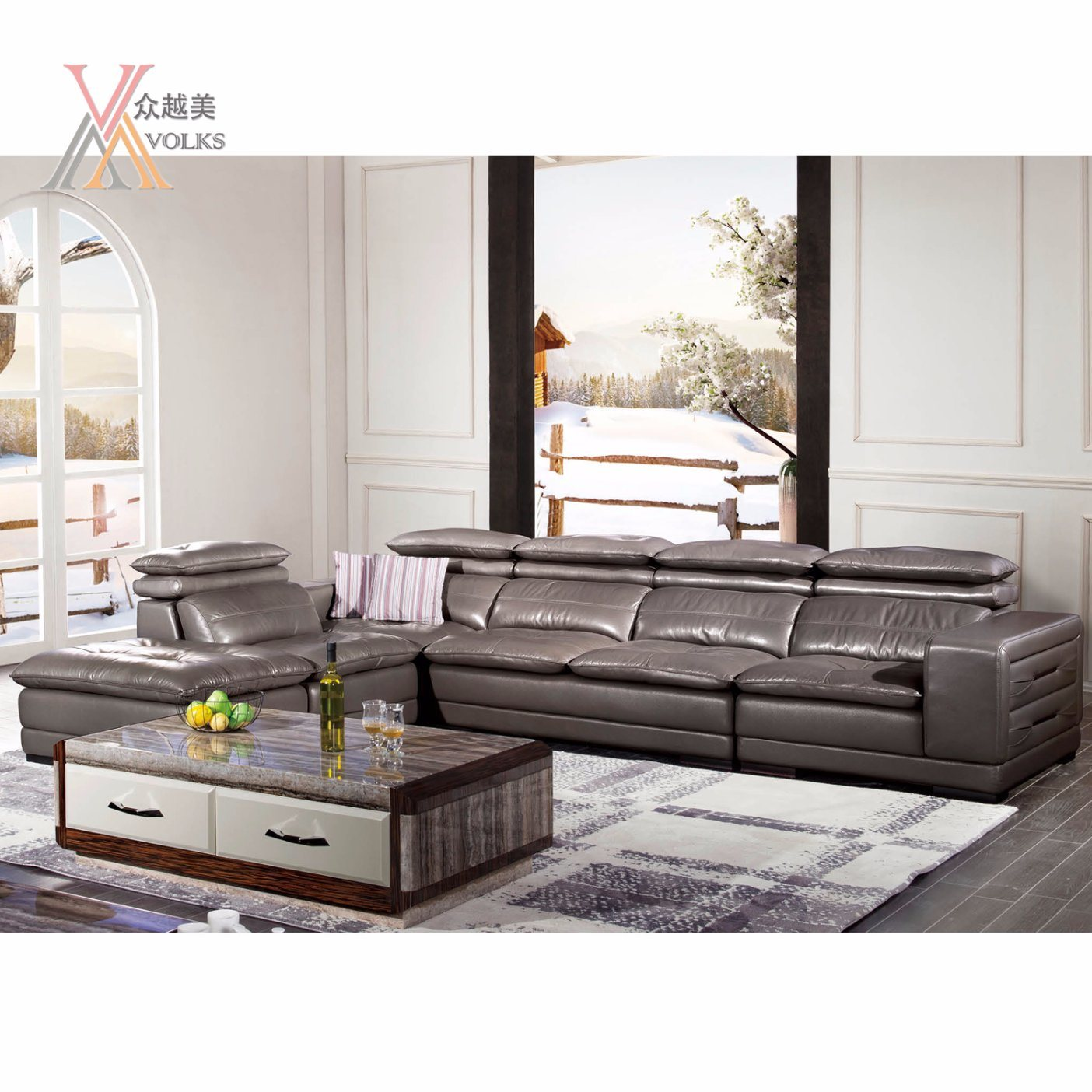 Modern Leather Sofa with Stereo Equipment (1620A)