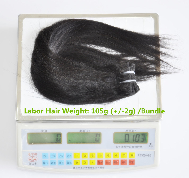 Unprocessed Labor Hair Extension 105g (+/-2g) /Bundle Natural Brazilian Virgin Straight Hair 100% Human Hair Weaves Grade 8A