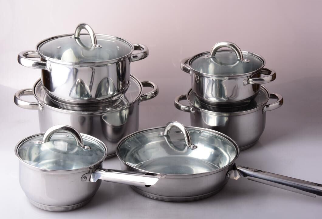 12PCS Stainless Steel Cookware Set with Glass Lid