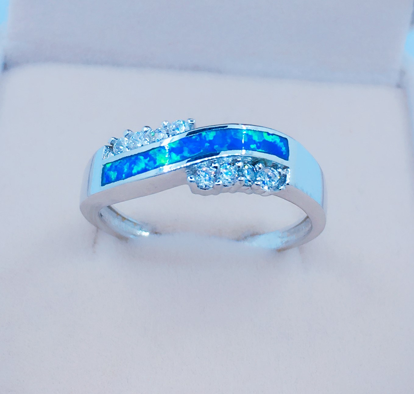 925 Silver Opal Jewelry Ring