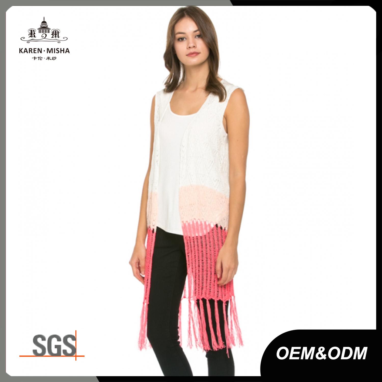 Fringed Women Knit Long Cardigan Vest