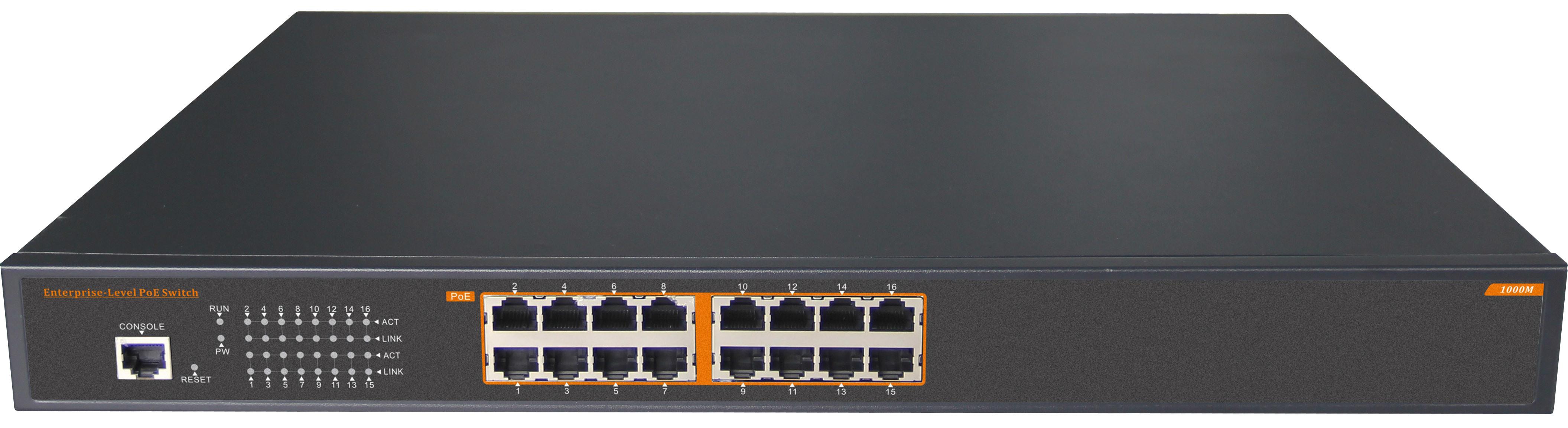 16 Port 802.3at Powered Gigabit Poe Ethernet Network Switch