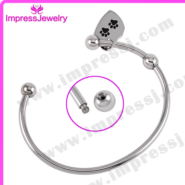 Stainless Steel Bracelets & Bangles with Tag Cremation Jewelry Bijoux