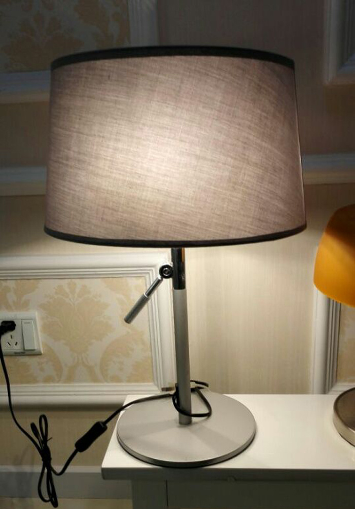 Wonderful Designer Modern Adjustable Bedroom Metal Desk Table Lamp Light in Black for Reading, with Fabric Shade