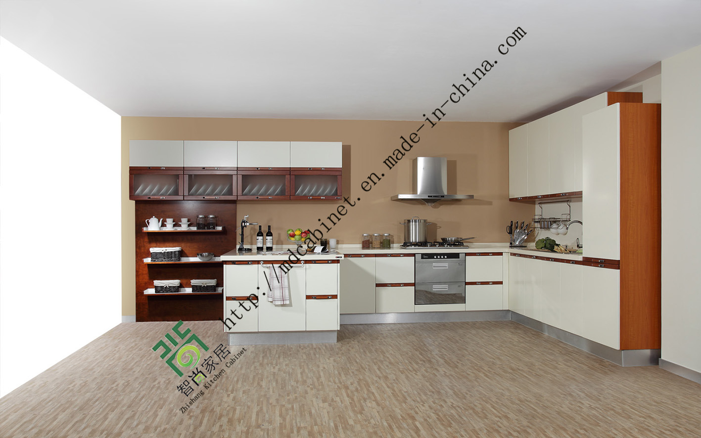 2014 Wooden Kitchen Cabinets with Woodgrain Designs (ZS-08)