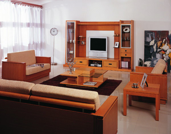 Orange Wood Living Room Furniture Set With Sofa Set And Tv Stand Set