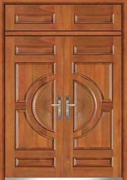 Puerta acorazada acero de madera de la hoja doble ht for Puertas dobles de madera exterior