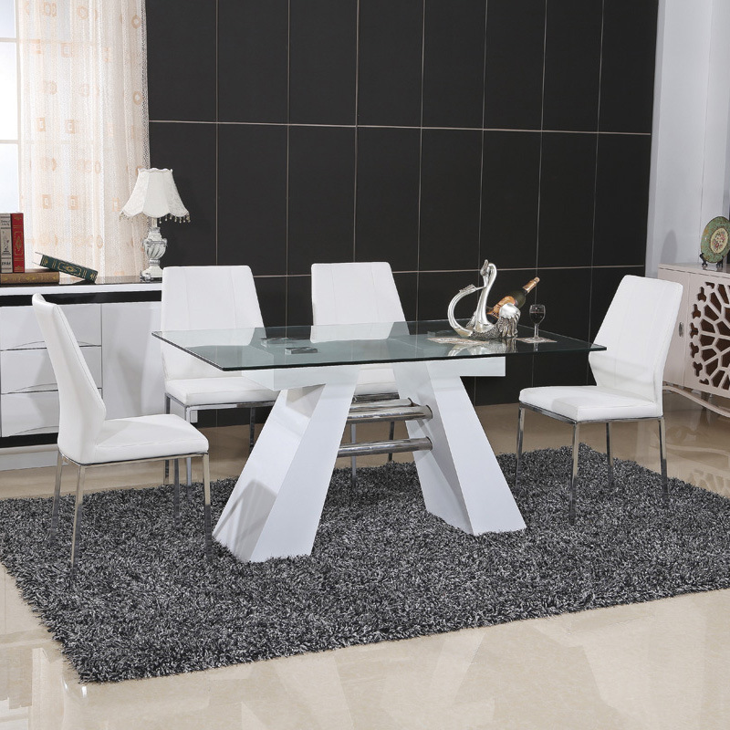 Stainless Steel MDF Dining Table with PU Chair (ET37 & EC51-1)