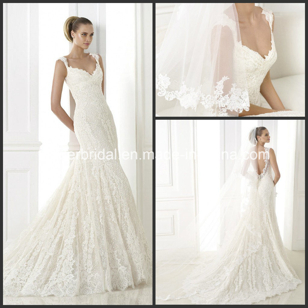 Cap Sleeves Lace Bridal Formal Gown Mermaid Backless