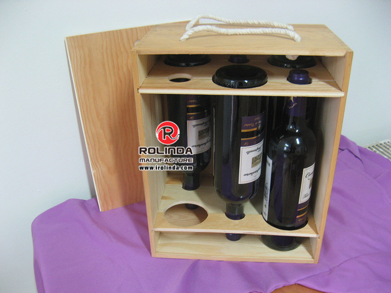 Wood Wine Box for Gift, Six Bottle Wood Wine Box