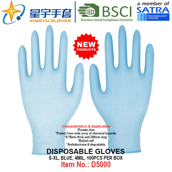 Blue Color, Powder-Free, Disposable Nitrile Gloves, 100/Box (S, M, L, XL) with CE. Exam Gloves