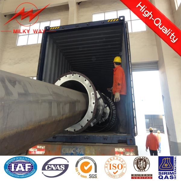 8m 5kn Africa Galvanized Electric Power Pole Manufacture