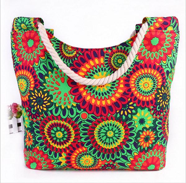 Printed Canvas Shoulder Bag Fashion Canvas Mummy Bag Cotton Rope Handbag Beach Bag