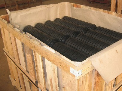 Conveyor Impact Rollers with Rubber Discs Compacted and Robber Coat