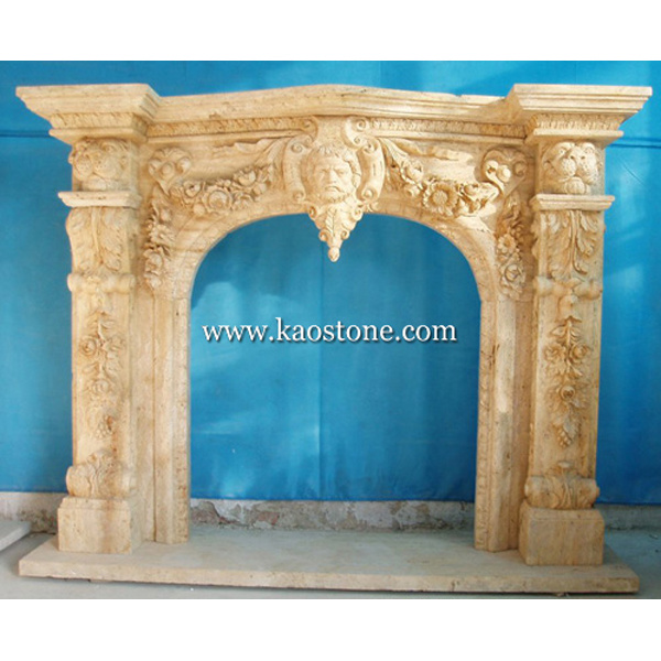 Fireplace Mantel, Natural Stone Yellow Marble Fireplace for Indoor & Outdoor
