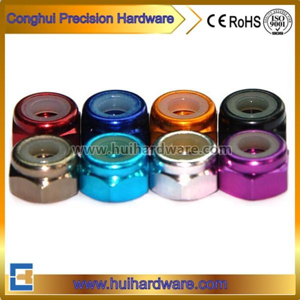 Aluminum Anodized Hex Lock Nuts, Colored Aluminum Nylock Nuts