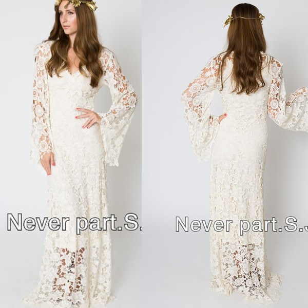Vintage Wedding Dresses With Bell Sleeves: Vintage Inspired Bohemian Wedding Gown Bell Sleeve Lace