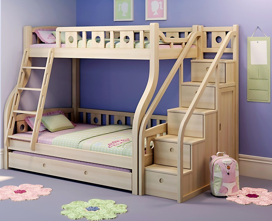 China Kids Wooden Bunk Bed With Pull Out Bed 07019