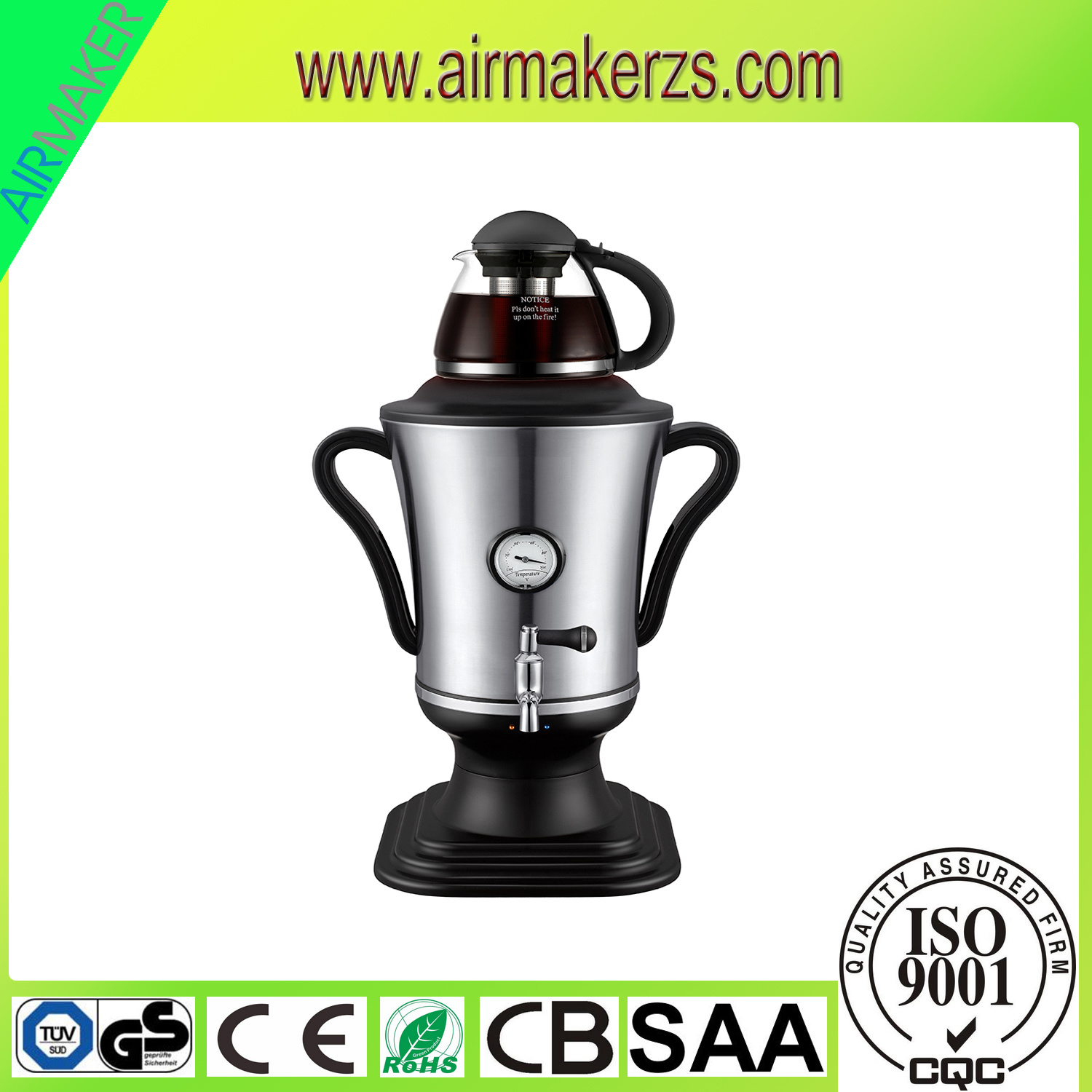 2300W Stainless Steel Electric Samovar with Flower Painting