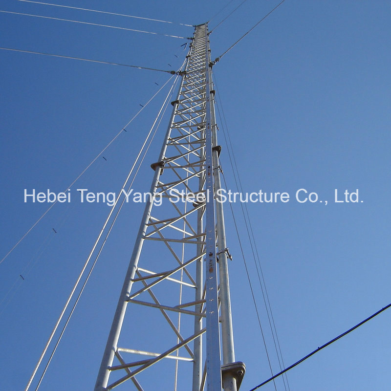 Antenna Steel Communication Tower Triangular Radio Telecom Guyed Tower