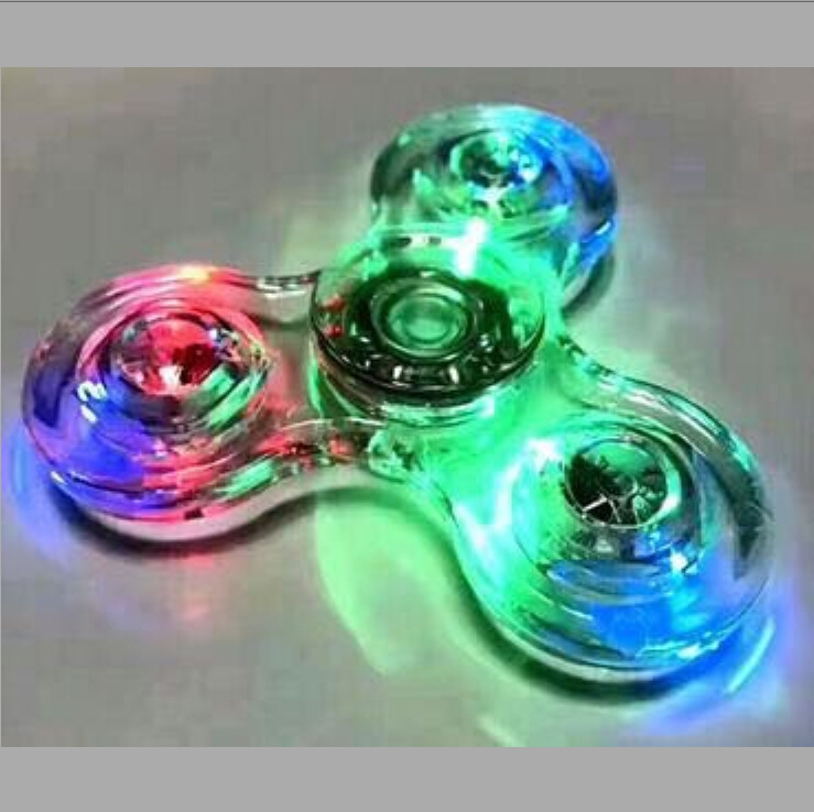 Bright Crystal Hand Fidget Spinner Glowing Tri Spinner Fidget with LED