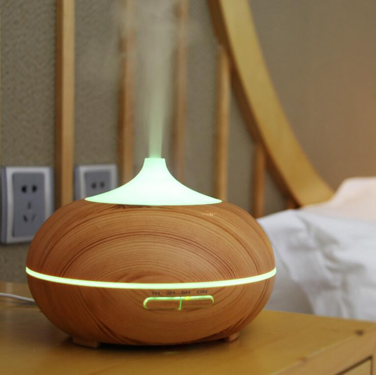 Wood Grain Ultrasonic Humidifier Aroma Diffuser for Home Bedroom Linving Room Yoga SPA