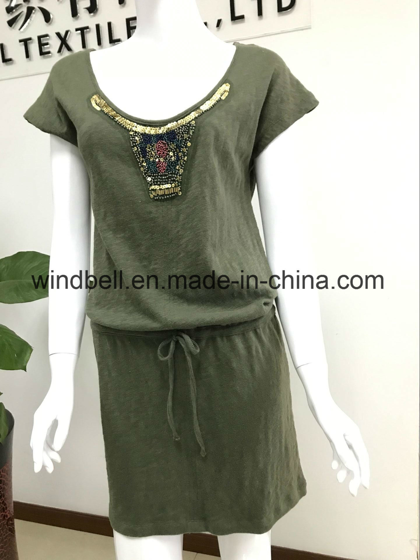 Womens Comfortable Dress with Sequins and Beads
