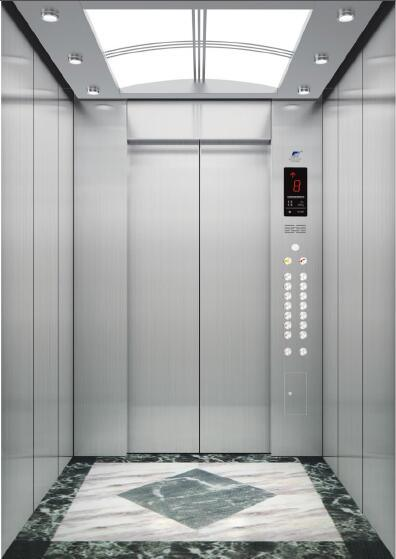 Gearless Passenger Elevator with Hairline Stainless Steel Cabin