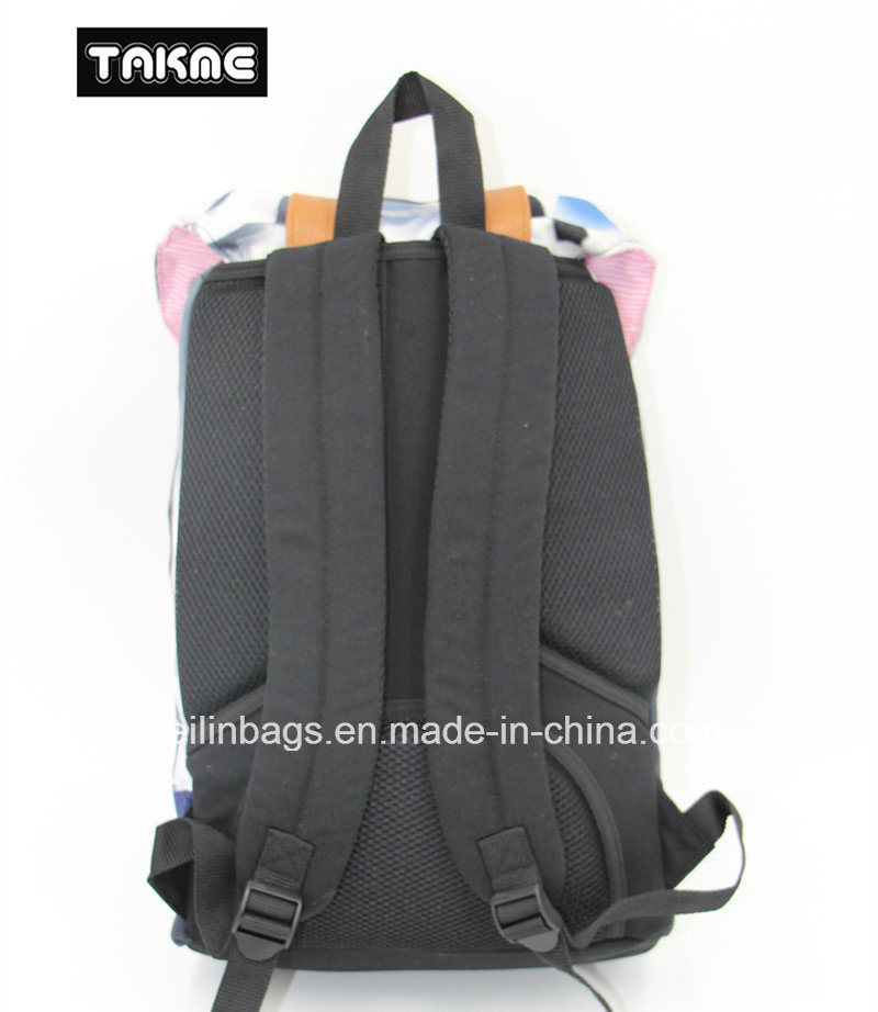 Trendy Canvas and Leather Priniting Laptop Bag, Backpack for School, Travel, Leisure