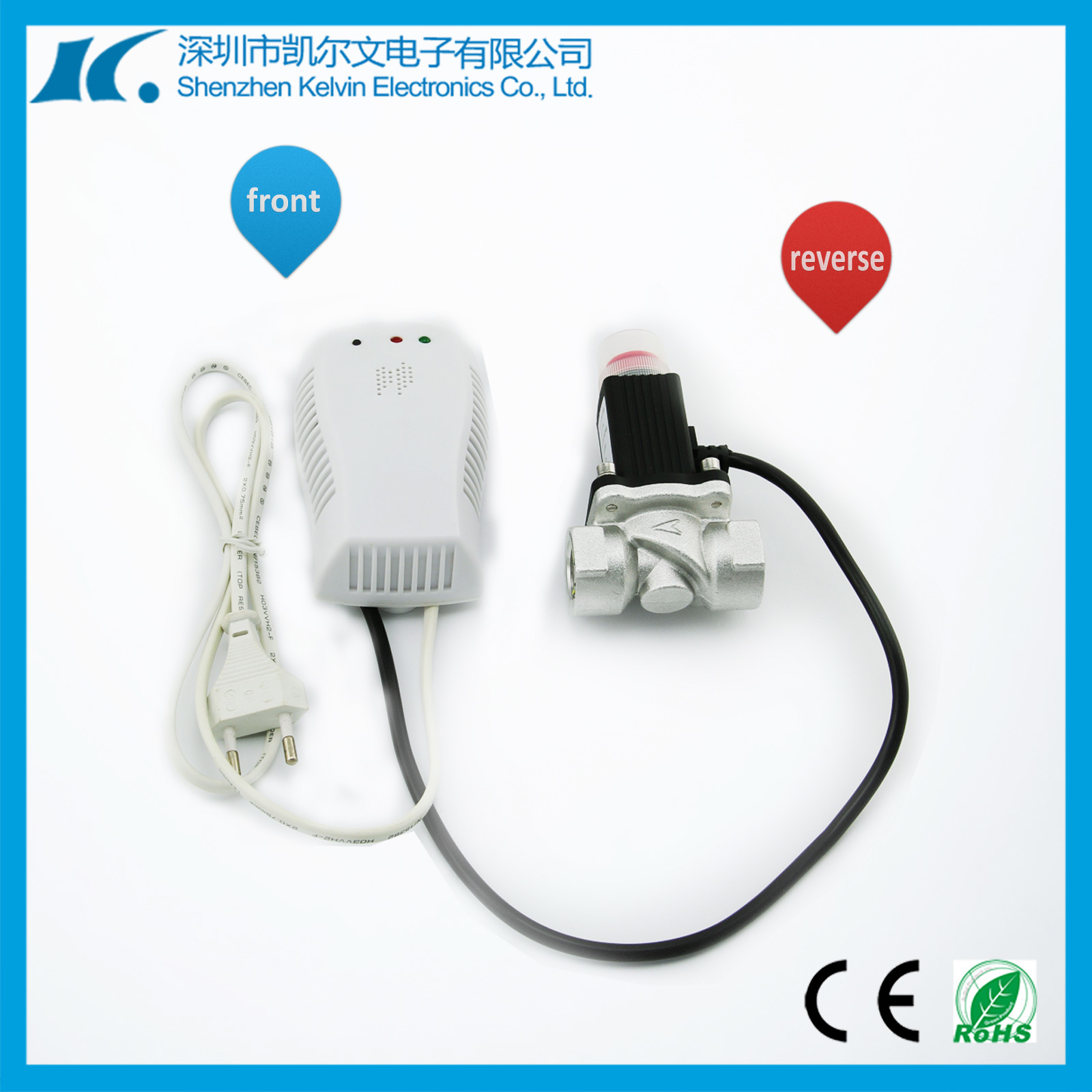 220V Wireless Gas Leakage Detector with 0.25′′ Solenoid Valve Kl-Qg08