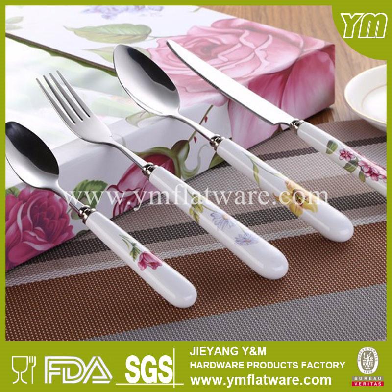 Ceramic Handle Stainless Steel Cutlery Set