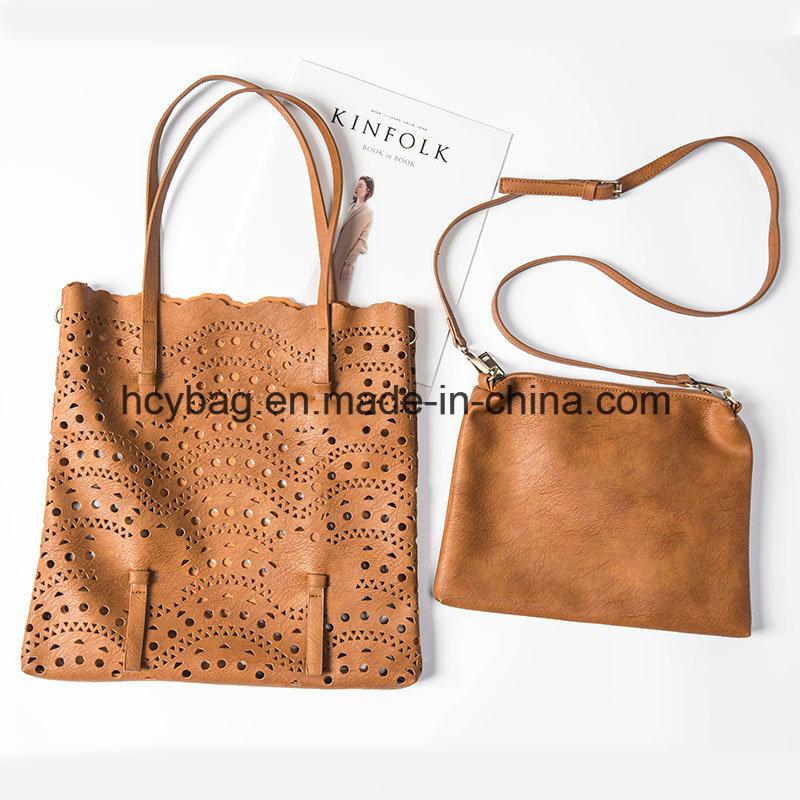 2017 Designer Shoulder Handbags Fashion Hollow Bag Set Leather Lady Hand Bag Hcy-2222