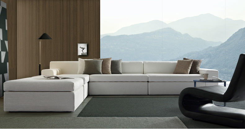 Home Furniture Italy Modern L Shape Sectional Fabric Sofa (corner sofa)
