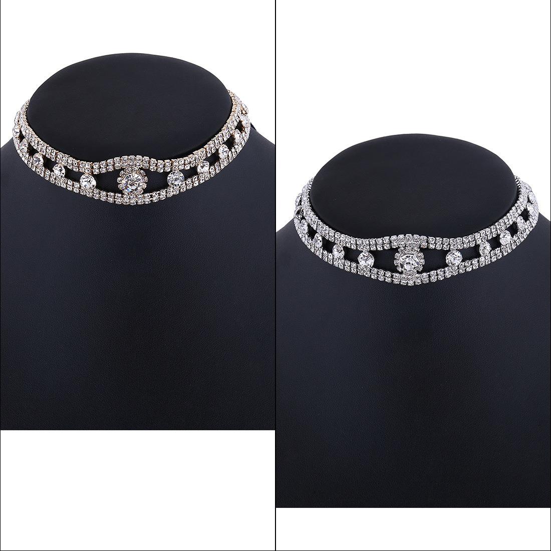 Fashion PU Fabrics Velvet Ribbon Diamond Rhinestone Collar Choker Necklace Jewelry