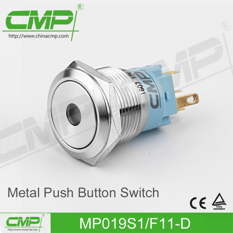 CMP 19mm Waterproof Light Push Button Switch with Power Symbol