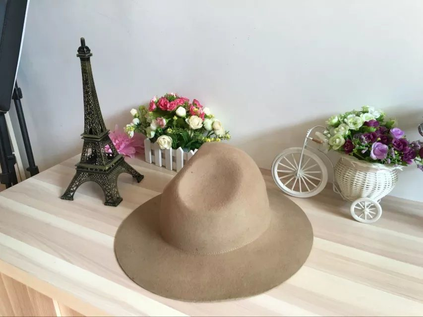 100% Wool Felt Military Fedora Hat in Hotsale