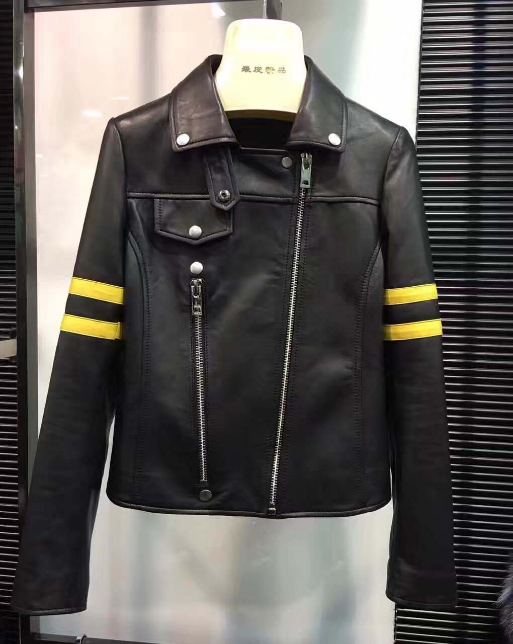 Women′s Leather Jacket, Oblique Zipper, Clothing