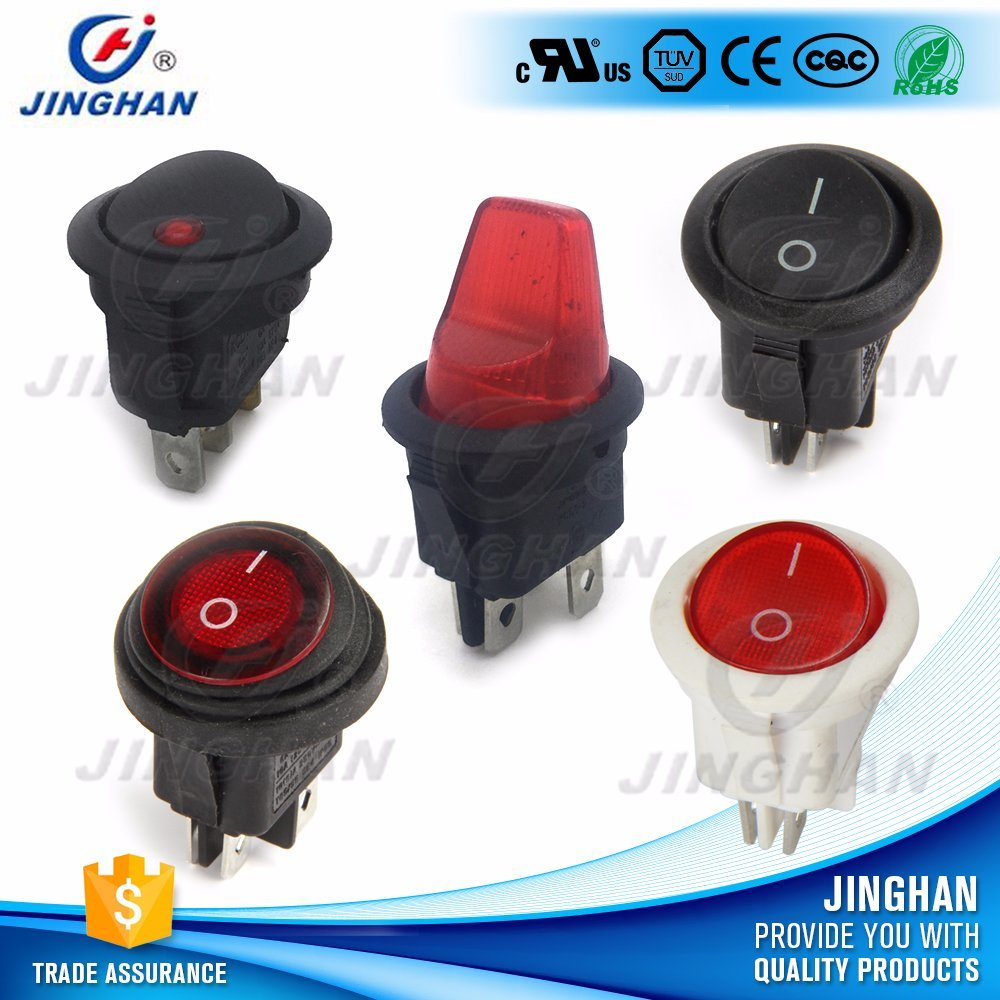 Kcd1-224 Waterproof Illuminated Round Rocker Switch T85