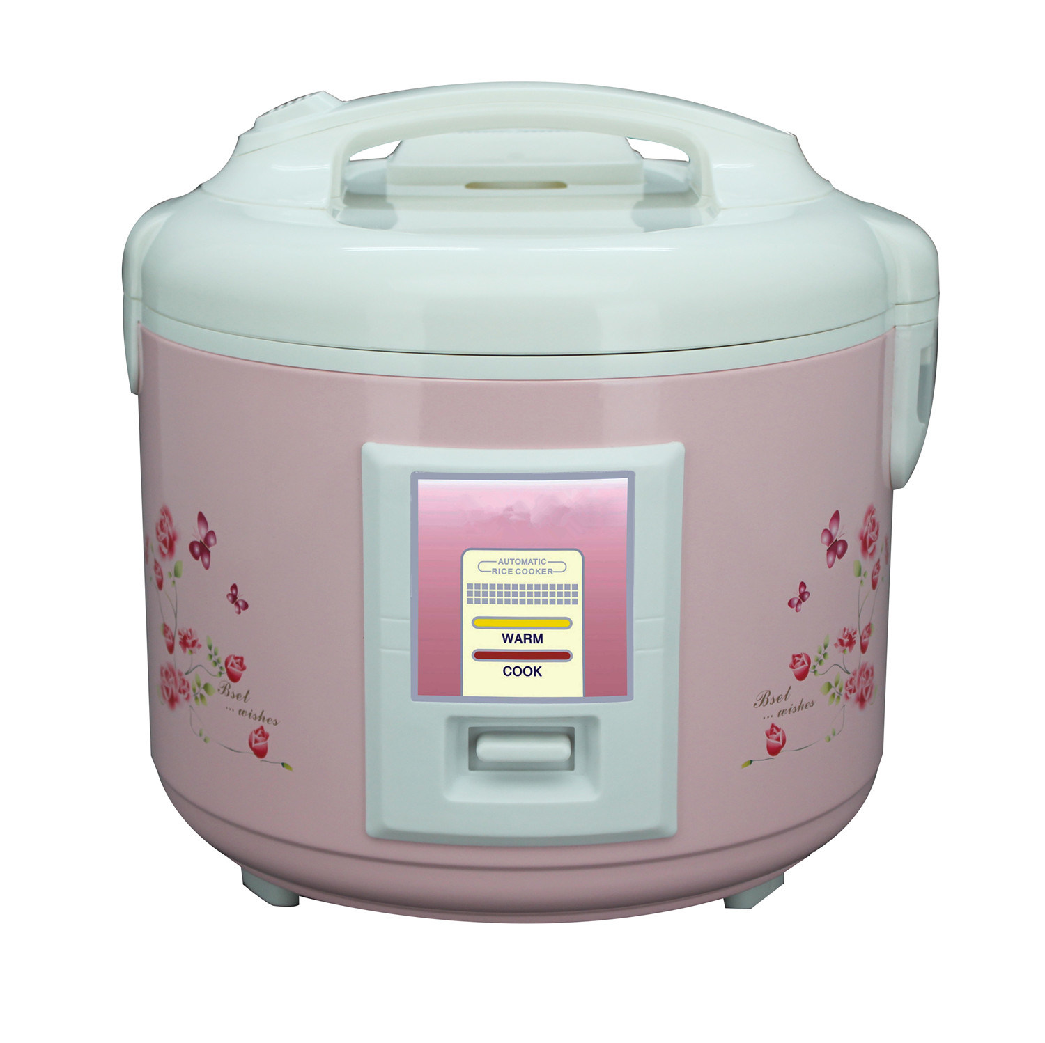 Pink Flower Printing Deluxe Rice Cooker with Convenient Handle